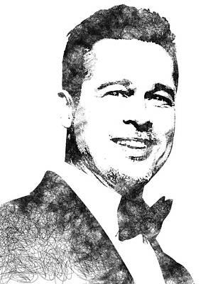 Digital Art - Brad Pitt Bw Portrait by Mihaela Pater