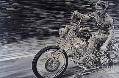 Brad Pitt On A Motorcycle Original