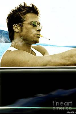 Jack Nicholson Mixed Media - Brad Pitt, Pacific Coast Highway, 1958 Porsche 356a 1600 Speedster by Thomas Pollart