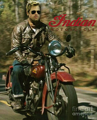 Brad Pitt Riding A Vintage Indian Motorcycle Original