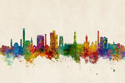 Digital Art - Bradford England Skyline by Michael Tompsett