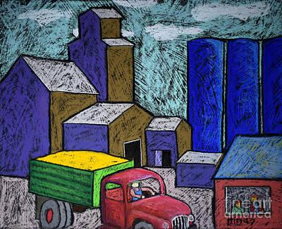 Barn Drawing - Bradforton Elevator by David Hinds