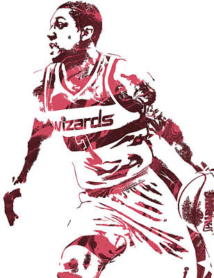 Bradley Mixed Media - Bradley Beal Washington Wizards Pixel Art 3 by Joe Hamilton