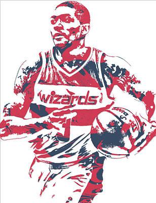 Washington Wizards Wall Art - Mixed Media - Bradley Beal Washington Wizards Pixel Art 8 by Joe Hamilton
