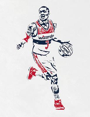 Washington Wizards Wall Art - Mixed Media - Bradley Beal Washington Wizards Pixel Art by Joe Hamilton