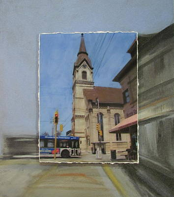 Mixed Media - Brady Street - Church Layered by Anita Burgermeister