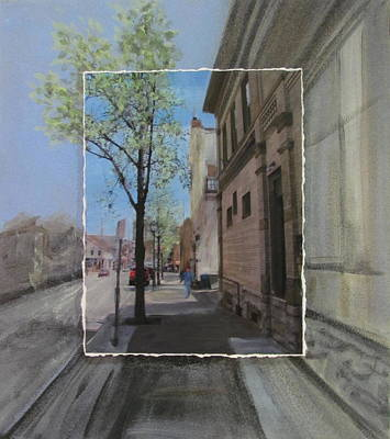 Mixed Media - Brady Street With Tree Layered by Anita Burgermeister