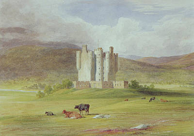 Cow Drawing - Braemar Castle by James Giles