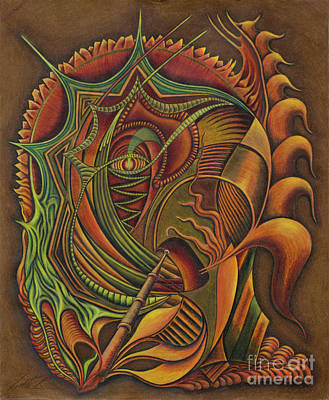 Colored Pencil Abstract Drawing - Brag Ta Hag by Scott Brennan