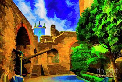 Digital Art - Braga Castle Courtyard by Rick Bragan