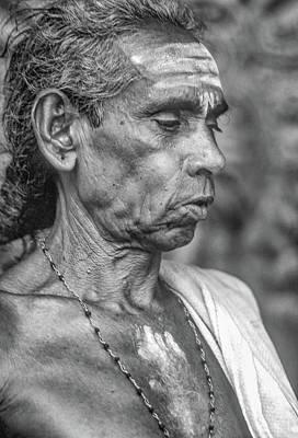 Worship Necklace Photograph - Brahmin Priest - Bw by Steve Harrington