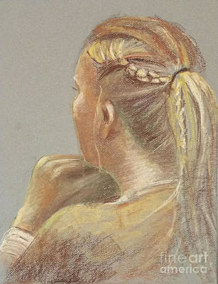 Drawing - Braid Girl by Barbara Oertli