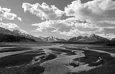 Braided River Black And White Art Print