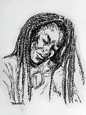 Musicians Drawings - Braids and The Blues by Robert Yaeger