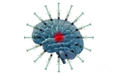 Brain With Syringes Art Print by George Mattei