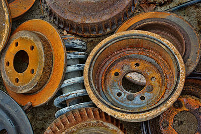 Brake Drums - Disc Brakes - Shock Assembly Print by Nikolyn McDonald