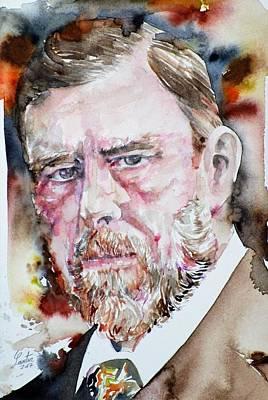 Painting - Bram Stoker - Watercolor Portrait by Fabrizio Cassetta