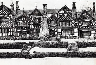 Pen And Ink Historic Buildings Drawings Drawing - Bramall Hall by Vincent Alexander Booth