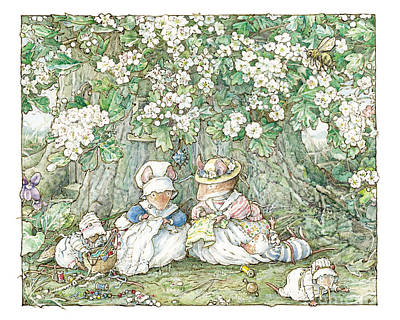 Mouse Drawing - Brambly Hedge - Hawthorn Blossom And Babies by Brambly Hedge