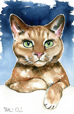 Painting - Brampton - Devon Rex Cat Painting by Dora Hathazi Mendes