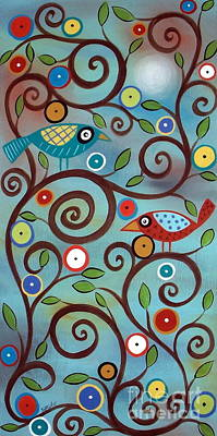 Primitive Folk Art Painting - Branch Birds by Karla Gerard