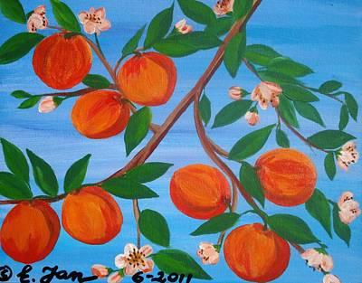 Branch Of Peaches Art Print by Elizabeth Janus