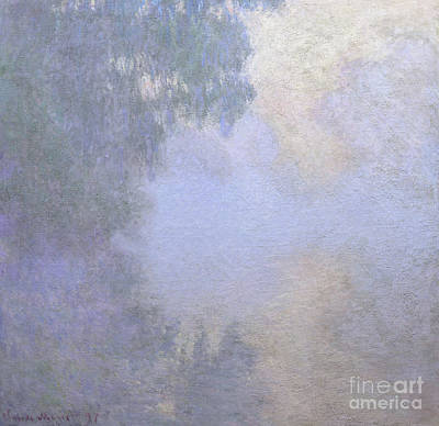 Branch Of The Seine Near Giverny  Mist Art Print by Claude Monet