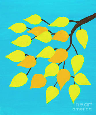 Painting - Branch With Golden Leaves On Blue Sky by Irina Afonskaya