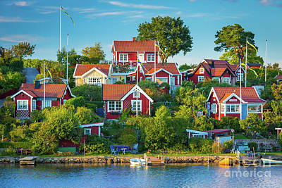 Sverige Photograph - Brandaholm Cottages by Inge Johnsson