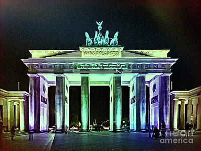 Brandenburg Gate At Night - 1 Original by Horst Rosenberger