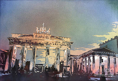Berlin Germany Painting - Brandenburg Gate At Sunset In The City O by Ryan Fox