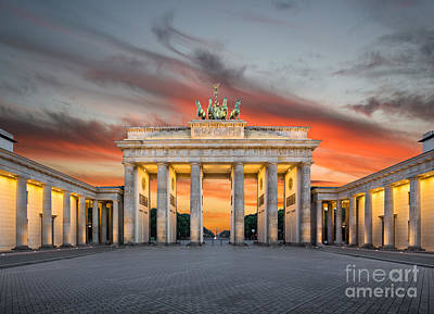 Brandenburg Gate Sunset Print by JR Photography