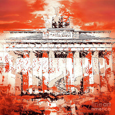 Berlin Mixed Media - Brandenburger Tor Rusty Woodsia by Nica Art Studio