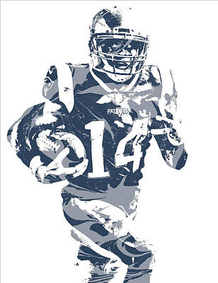 Mixed Media - Brandin Cooks New England Patriots Pixel Art 2 by Joe Hamilton