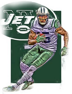 Jets Mixed Media - Brandon Marshall New York Jets Oil Art by Joe Hamilton