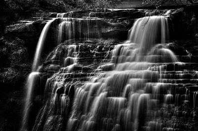 Photograph - Brandywine Falls At Cuyahoga Valley National Park B W by Roger Passman