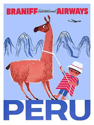 Braniff Airways Peru Child And Llama Travel Poster Art Print