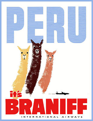 Llama Wall Art - Digital Art - Braniff Airways Peru Llamas Travel Poster by Retro Graphics