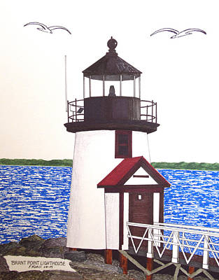 Drawing - Brant Point Lighthouse At Nantucket Harbor by Frederic Kohli