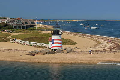 Photograph - Brant Point Lighthouse From Nantucket Ferry by John Burk