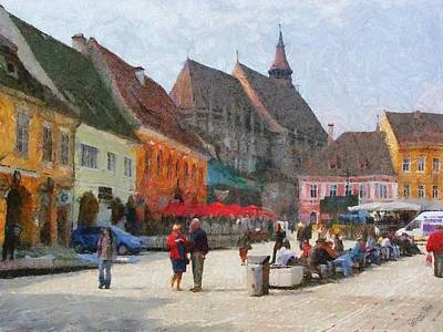 Painting - Brasov Council Square by Jeffrey Kolker