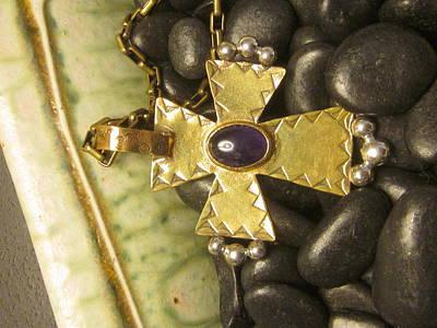 Jewelry - Brass Amethyst Cross by Anne Marie Brown