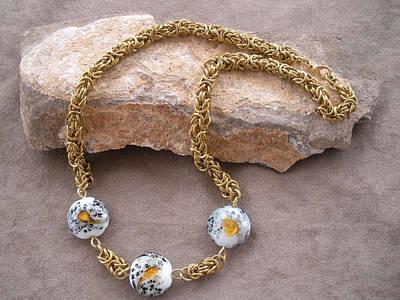 Byzantine Chain Jewelry - Brass And Glass Byzantine Necklace by Donna Smith