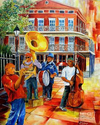 Music Paintings - Brass Band in Jackson Square by Diane Millsap