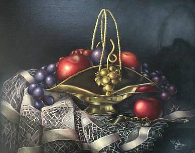 Brass Basket Art Print by Michelle Kerr
