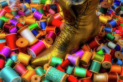 Photograph - Brass Boot And Spools Of Thread by Garry Gay