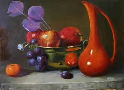 Brass Bowl With Fruit And Orange Vase  Original