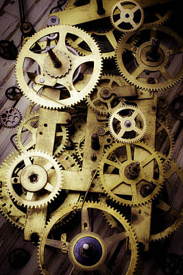 Gear Photograph - Brass Clock Gears by Garry Gay