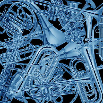 Photograph - Brass Instruments Blue by Andrew Fare