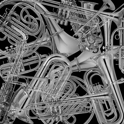 Photograph - Brass Instruments Bw by Andrew Fare